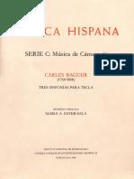 Carles Baguer (1768-1808) - Tres Sinfonias Para Tecla - Musica Hispana - CSIC - 1984