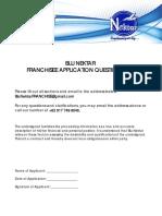 Blu Nektar Franchisee Questionnaire
