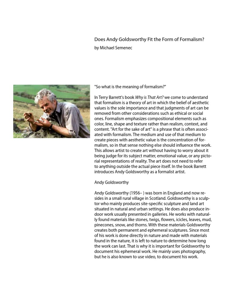 Find Another Essay On Andy Goldsworthy
