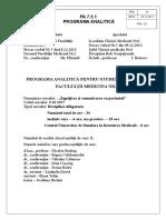 Programa Analitica Ingrijirea Bolnavului