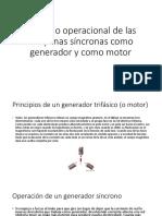 Principio operacional de las maquinas síncronas como generador y como motor