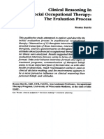 Clinical Reasoning In Psychosocial Occupational Therapy- The Evaluation Process. Barris1987
