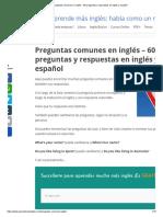 Preguntas comunes en inglés – 60 preguntas y respuestas en inglés y español