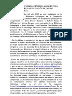 PROPUESTA DE NOMINACIÓN DE LA BIBLIOTECA PEDAGÓGICA