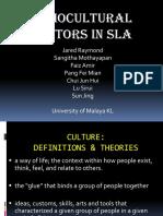 Sociocultural Factors in SLA