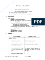 Detailed Lesson Plan in Parts of Sewing Machine
