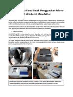 5 Hal yang bisa Kamu Cetak Menggunakan Printer 3D di Manufacture Industri