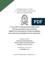 Evaluación y comparación de módulos de ruptura para mezclas de concreto hidráulico utilizados en pavimentos rígidos aplicando granulometría Fuller y Shilstone