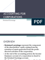 ACCOUNTING FOR CORPORATIONS-Retained Earnings