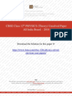 CBSE Class 12th Physics 2018 - Unsolved