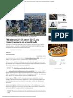 MEF- PBI creció 2,16% en el 2019
