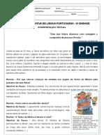 ATIVIDADE AVALIATIVA DE LÍNGUA PORTUGUESA_4 ano_III Unidade_2018