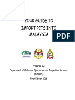 YOUR GUIDE TO IMPORT PETS INTO MALAYSIA (UPDATE 290116)