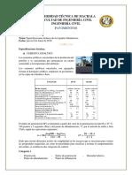 Especificaciones técnicas de ligante bituminoso