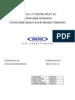 VOLTAS 1.5 TONNE SPLIT AC_CONSUMER BEHAVIOUR PROJECT_GROUP NO. 04