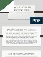 EXCEPCIONES E INCIDENTES