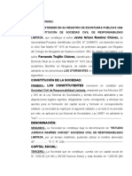 MINUTA DE CONSTITUCION DE SOCIEDAD CIVIL DE RESPONSABILIDAD LIMITADA