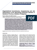 Organizational Commitments, Competencies and Job Performance of the Agricultural Extension Workers in Bukidnon Province, Southern Philippines