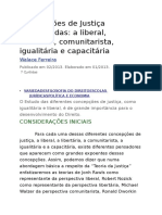 liberal, libertária, comunitarista, igualitária e capacitária