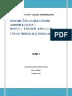 ORGANIZACIÓN EFECTIVA Y CULTURA ORGANIZACIONAL tarea 1