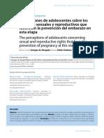 Percepciones de adolescentes sobre los derechos sexuales y reproductivos que favorecen la prevención del embarazo en esta etapa