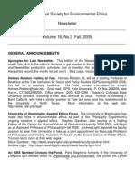 Fall 2005 International Society for Environmental Ethics Newsletter