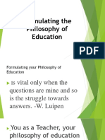 Formulating the Philosophy of Education