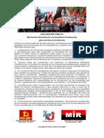 Declaración Pública del Movimiento Allendista por la Asamblea Constituyente para una Nueva Constitución - [PC(AP)- UPA - MIR] - Febrero de 2020