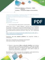 Formato actividad 1 Presentar trabajo de reconocimiento. n