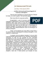 Direito Internacional Privado aula e notas homologacao