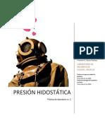 Práctica no. 2 - Presión hidrostática - Equipo B