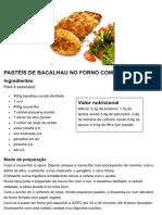 PASTÉIS DE BACALHAU NO FORNO COM COUVE