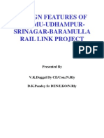 DESIGN FEATURES of Jammu-udhampur-srinagar-baramulla-rail Link Project