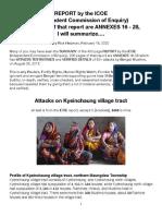 ICOE-Kyeinchaung Attacks, Summarized