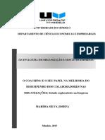 Marísia Josefa 2015. O coaching e o seu papel na melhoria do desempenho dos colaboradores nas organizações