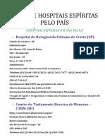 Lista de Hospitais Espíritas Pelo País