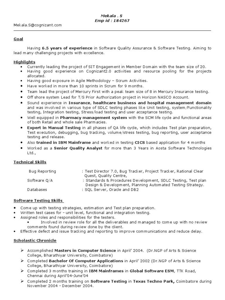 Resume For S Mekala Software Testing 6 5 Years Insurance