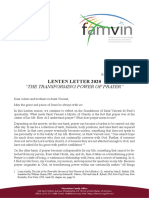 [English]  Lenten Letter 2020 – Vincentian Family
