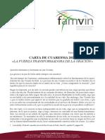 [Español] Carta de Cuaresma 2020 – Familia Vicentina
