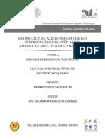 EXTRACCION DE ACEITE OMEGA 3 DE LOS SUBPRODUCTOS DE ATUN ALETA AMARILLA