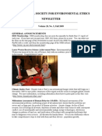Fall 2009 International Society for Environmental Ethics Newsletter