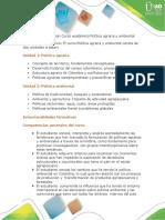 Descripción del curso Política agraria y ambiental