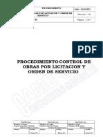 CC-P-001 Procedimiento Control de Obras por Liictacion y Orden de Servicio