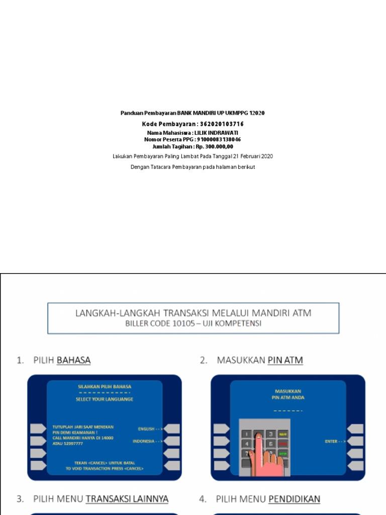 Panduan Pembayaran Bank Mandiri Up Ukmppg 12020
