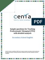 TPO Sample Question Analysis - Secondary School English