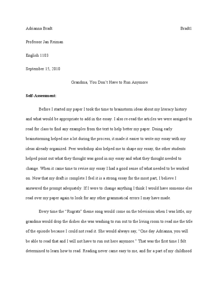 example of self assessment essay sponsors of literacy essay final draft literacy essays