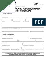 EDITAL 012020 - Anexo 1 - Formulário de Inscrição para Pós-Graduação