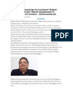 Rakesh Jhunjhunwala Tips for Investment
