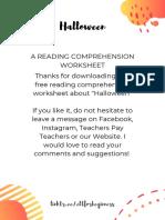 ReadingComprehensionWorksheetElementaryHalloween