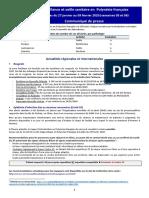 Communique de Presse Du Bulletin de Surve Illance Sanitaire Des S05 Et S06-2020